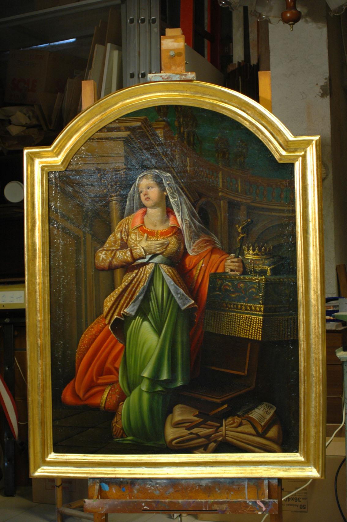 Cornice e dipinto di Santa Elisabetta
