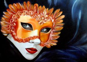 Maschera carnevalesca olio su tela 37 x 27