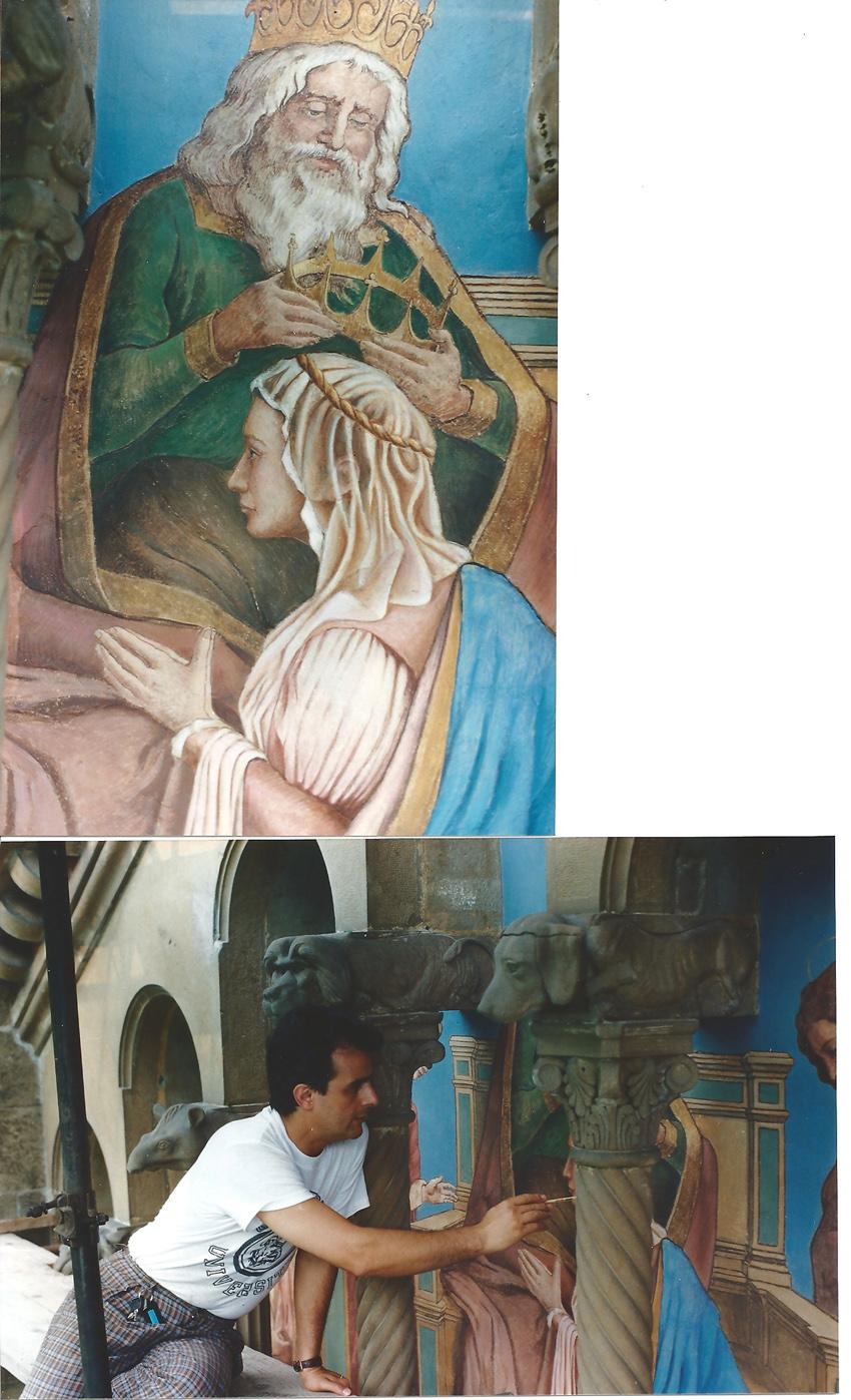 Pronestì mentre restaura la facciata chiesa di San Genesio
