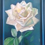 Rosa bianca su sfondo blu 40x50