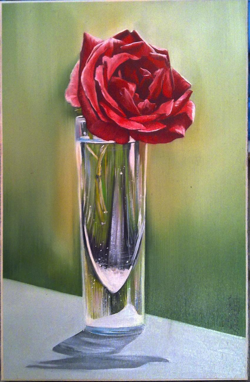 Rosa rossa nel bicchiere 20x30