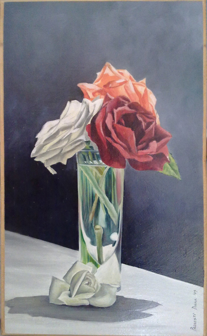 Rose bianco rosse nel bicchiere 22x35