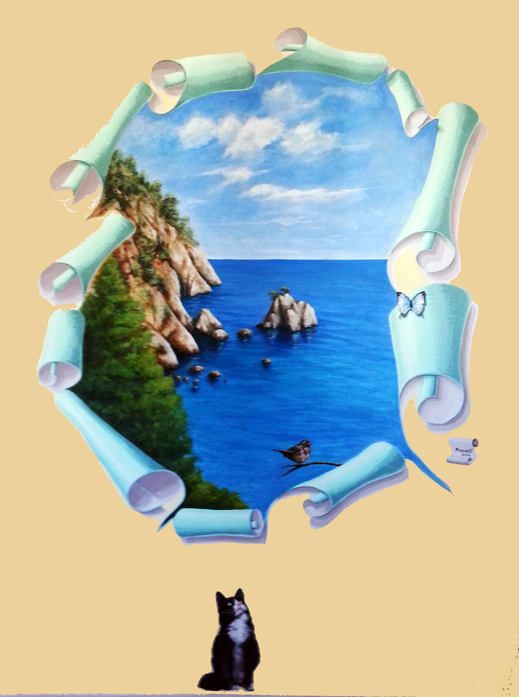 trompe-leoil-su-muro-gatto-che-guarda-un-uccello-sullo-strappo-con-paesaggio-marino