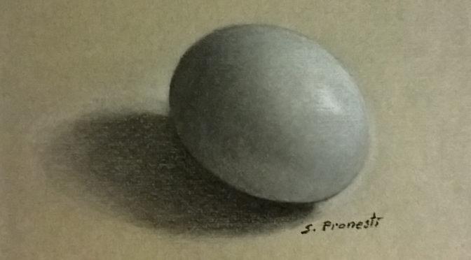 uovo su sfondo grigio - Carboncini colorati