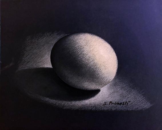 Uovo su sfondo nero - Carboncini colorati