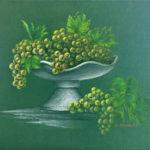Uva su sfondo verde - Carboncini colorati