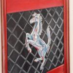 Il cavallino della Ferrari Olio su Compensato telato