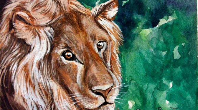 Leone - acquerello