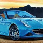 Dipinto olio su tavola 65 x 20 Ferrari California